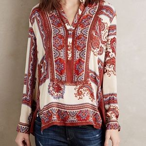 Tiny Anthro Boho Red Cream Paisley Nahara Blouse S